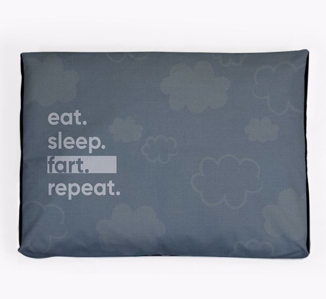 'Eat, Sleep, Fart, Repeat' Dog Bed for your French Bull Jack