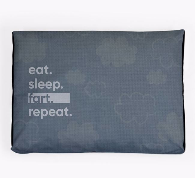 'Eat, Sleep, Fart, Repeat' Dog Bed for your Golden Dox