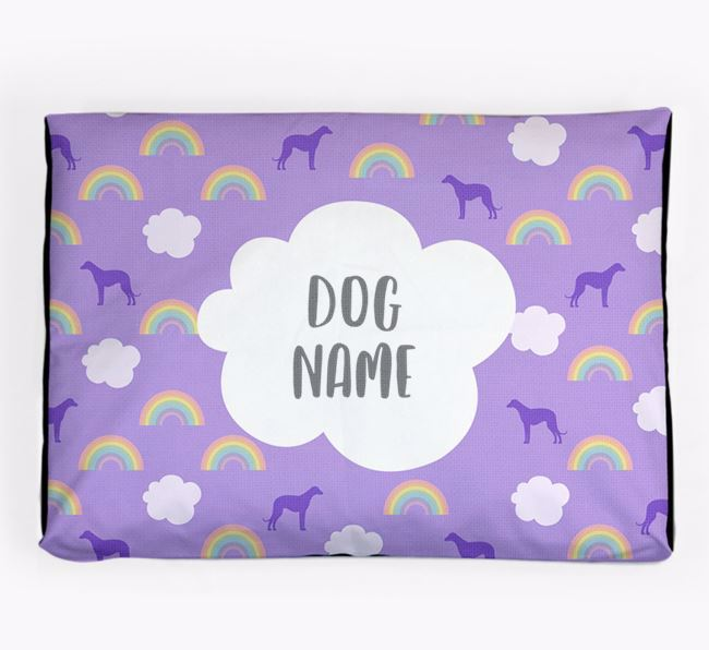 Personalised 'Rainbow' Dog Bed for your Bedlington Whippet
