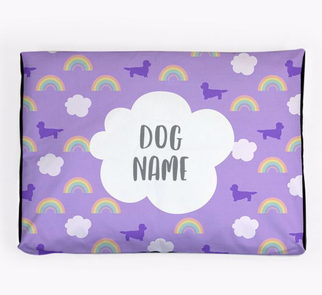 Personalised 'Rainbow' Dog Bed for your Dandie Dinmont Terrier