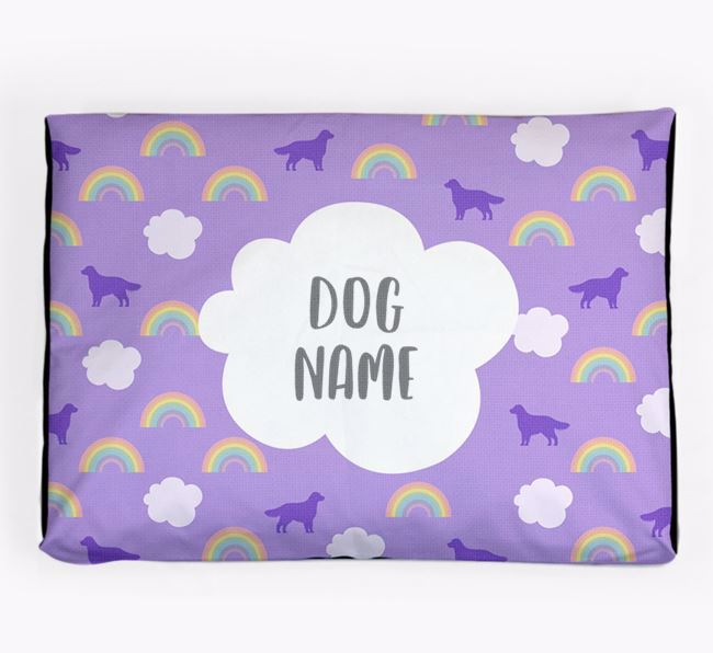Personalised 'Rainbow' Dog Bed for your Flat-Coated Retriever