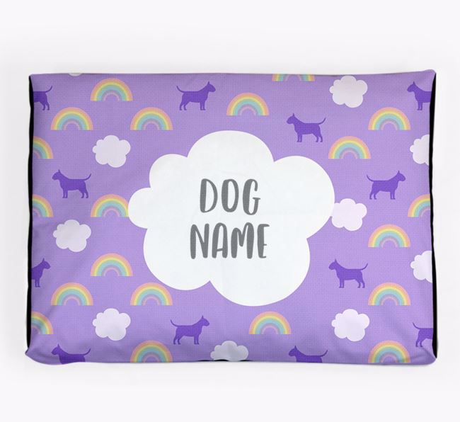 Personalised 'Rainbow' Dog Bed for your Miniature Bull Terrier