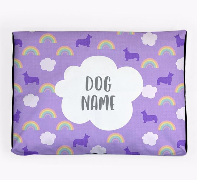 Personalised 'Rainbow' Dog Bed for your Pembroke Welsh Corgi