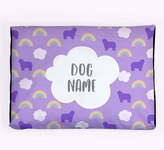 Personalised 'Rainbow' Dog Bed for your Polish Lowland Sheepdog