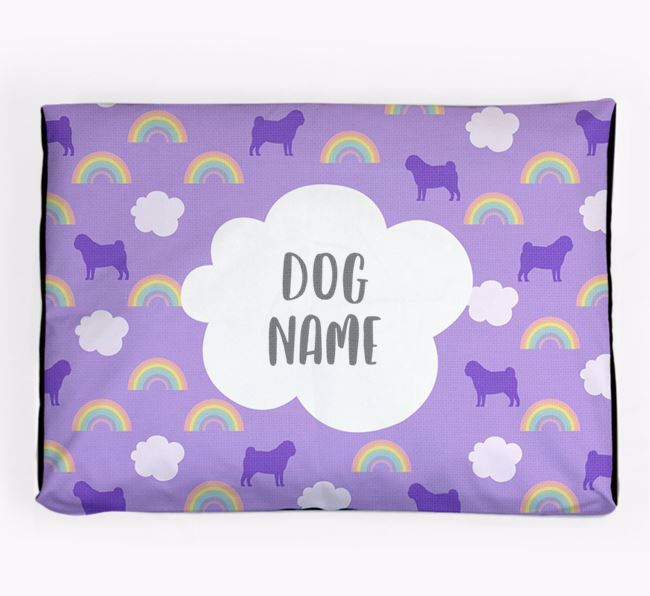 Personalised 'Rainbow' Dog Bed for your Pug