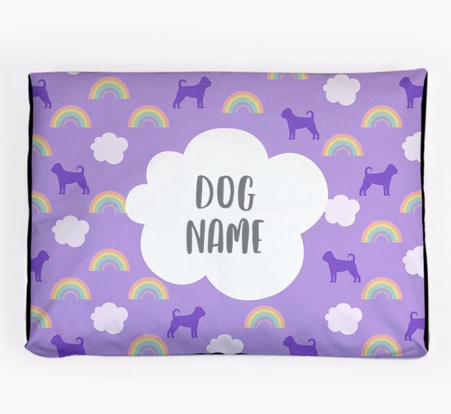 Personalised 'Rainbow' Dog Bed for your Puggle