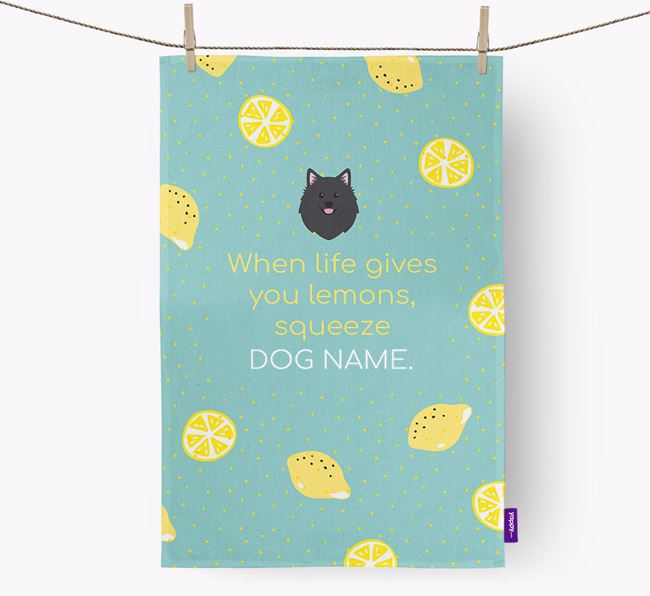 Personalised 'When Life Gives You Lemons' Dish Towel with American Eskimo Dog Icon
