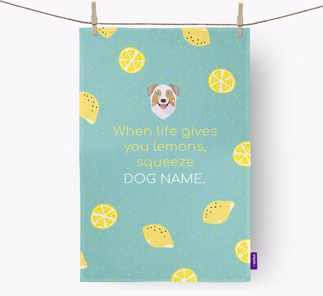 Personalised 'When Life Gives You Lemons' Dish Towel with Australian Shepherd Icon