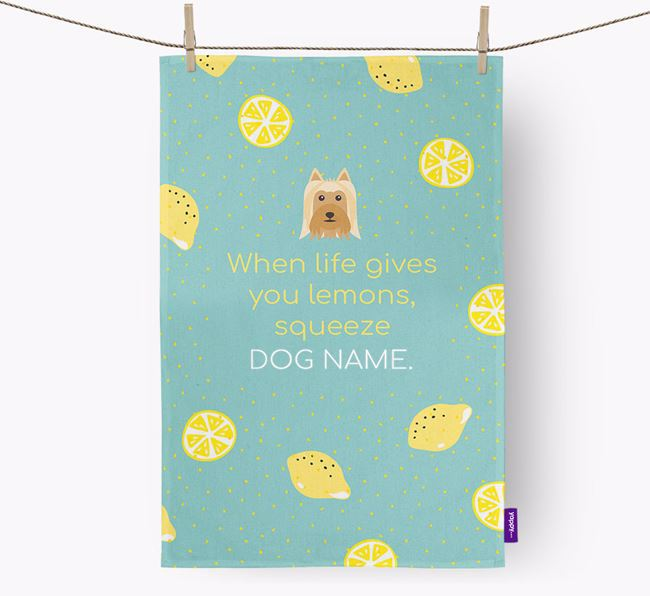 Personalised 'When Life Gives You Lemons' Tea Towel with Australian Silky Terrier Icon