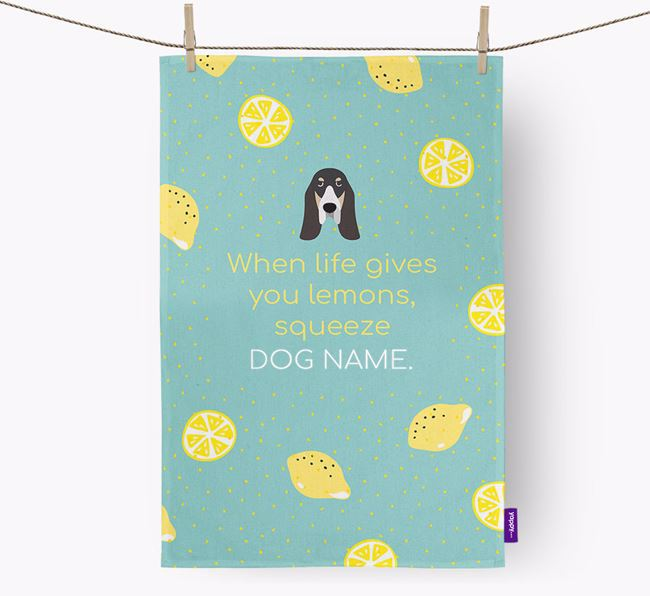 Personalised 'When Life Gives You Lemons' Dish Towel with Basset Bleu De Gascogne Icon