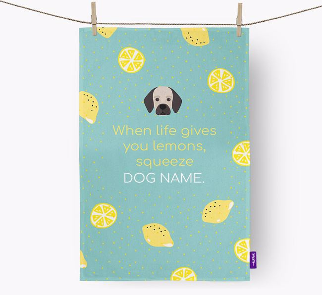 Personalised 'When Life Gives You Lemons' Dish Towel with Bassugg Icon