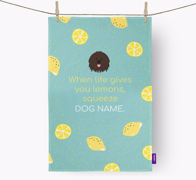 Personalised 'When Life Gives You Lemons' Dish Towel with Bergamasco Icon