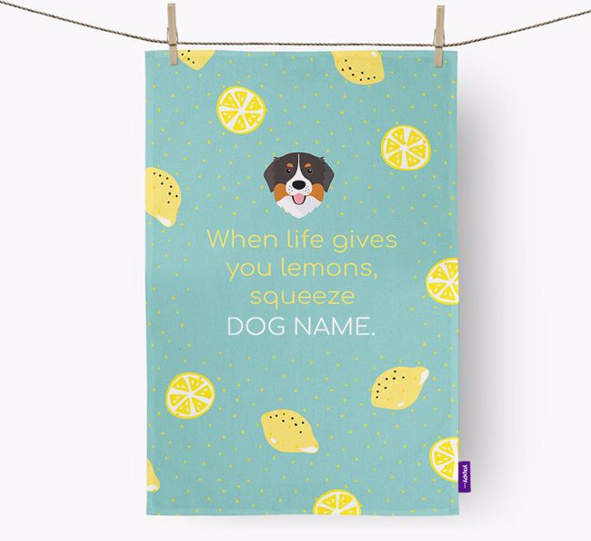Personalised 'When Life Gives You Lemons' Dish Towel with Bernese Mountain Dog Icon