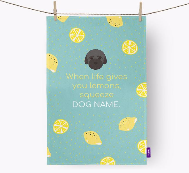 Personalised 'When Life Gives You Lemons' Dish Towel with Bich-poo Icon
