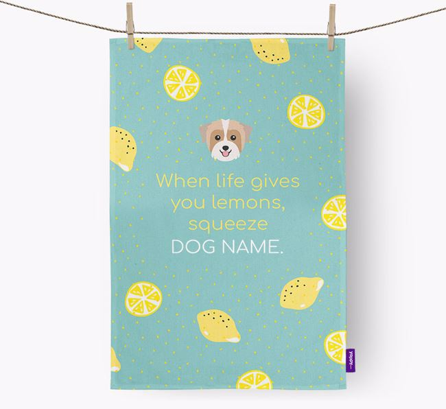 Personalised 'When Life Gives You Lemons' Dish Towel with Biewer Terrier Icon