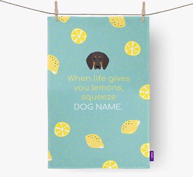 Personalised 'When Life Gives You Lemons' Tea Towel with Black and Tan Coonhound Icon