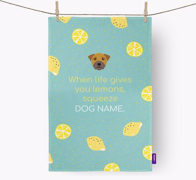 Personalised 'When Life Gives You Lemons' Dish Towel with Border Terrier Icon