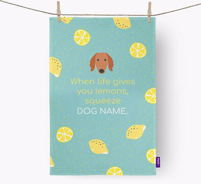Personalised 'When Life Gives You Lemons' Dish Towel with Borzoi Icon