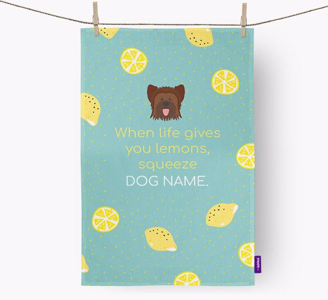 Personalised 'When Life Gives You Lemons' Dish Towel with Briard Icon