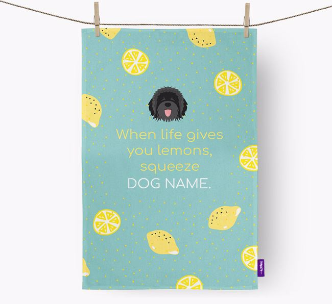 Personalised 'When Life Gives You Lemons' Dish Towel with Catalan Sheepdog Icon