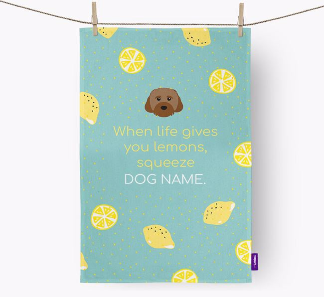 Personalised 'When Life Gives You Lemons' Tea Towel with Cavachon Icon