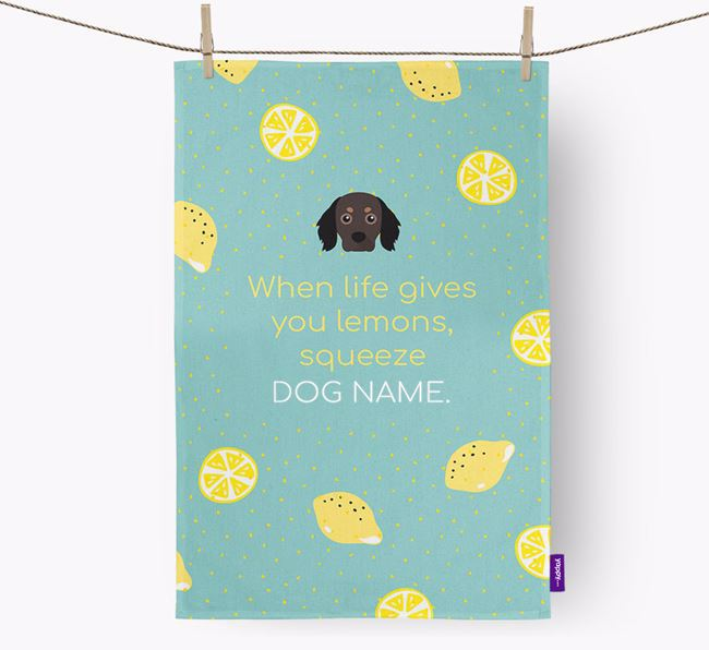 Personalised 'When Life Gives You Lemons' Dish Towel with Cavapom Icon