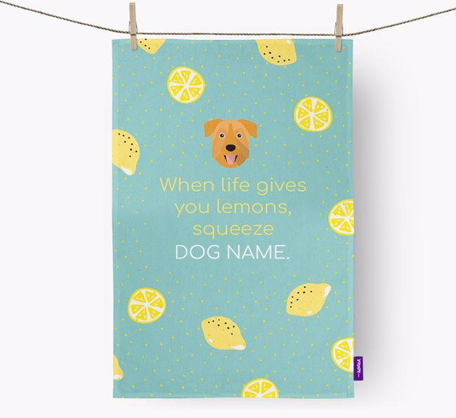 Personalised 'When Life Gives You Lemons' Dish Towel with Chinook Icon
