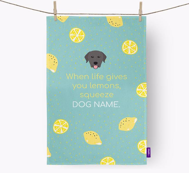 Personalised 'When Life Gives You Lemons' Dish Towel with Curly Coated Retriever Icon