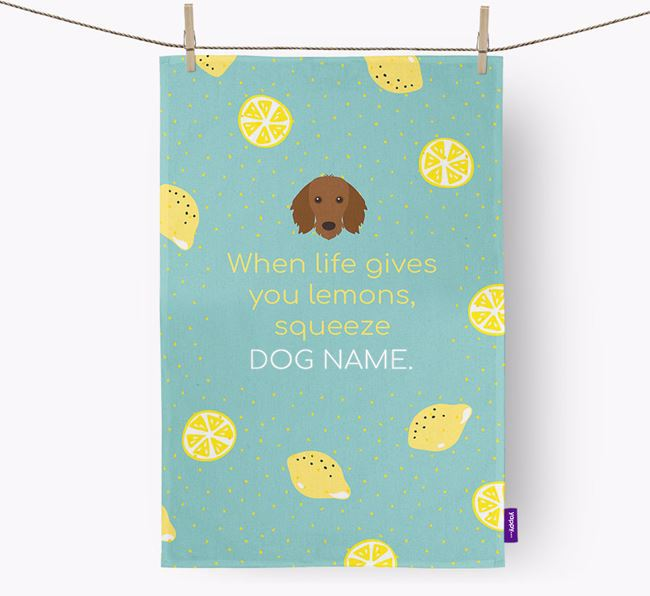 Personalised 'When Life Gives You Lemons' Dish Towel with Dachshund Icon