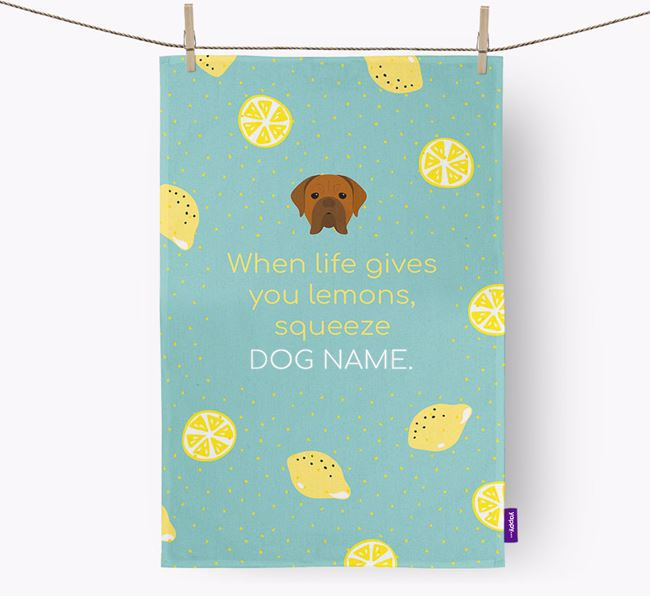 Personalised 'When Life Gives You Lemons' Dish Towel with Dogue de Bordeaux Icon