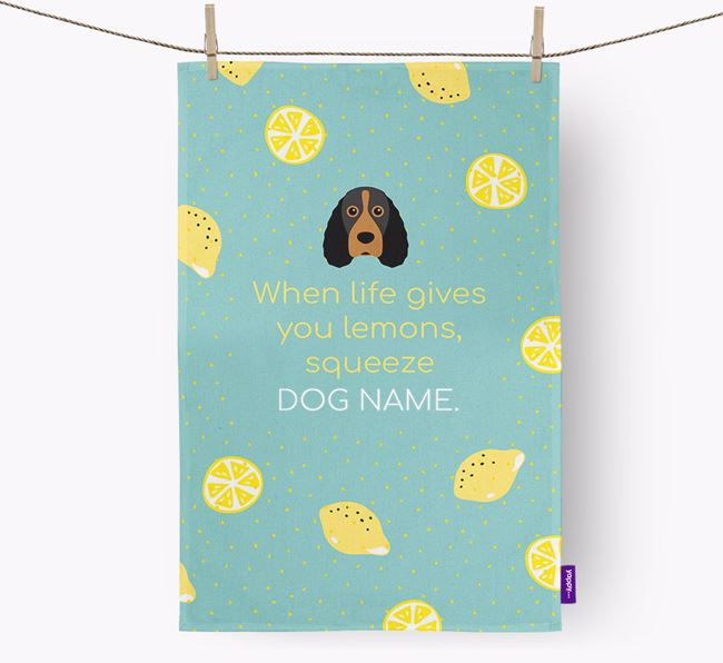 Personalised 'When Life Gives You Lemons' Dish Towel with Field Spaniel Icon