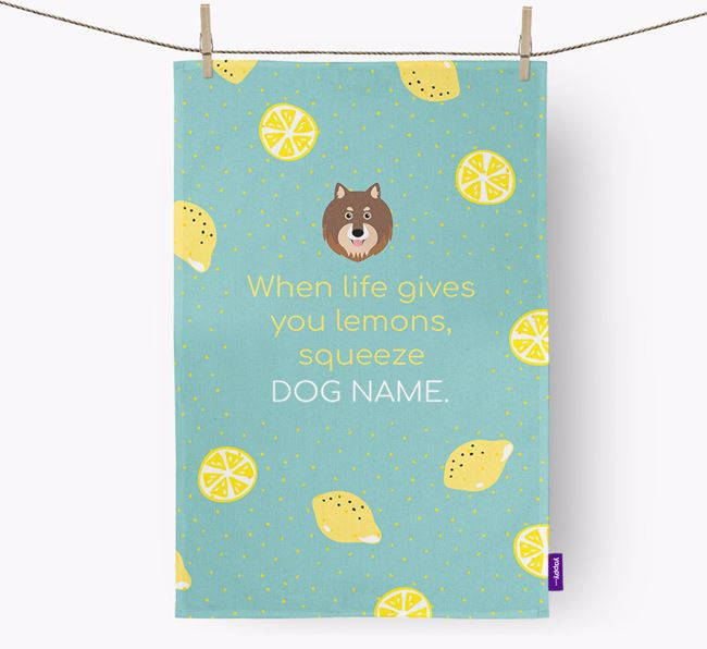 Personalised 'When Life Gives You Lemons' Dish Towel with Finnish Lapphund Icon