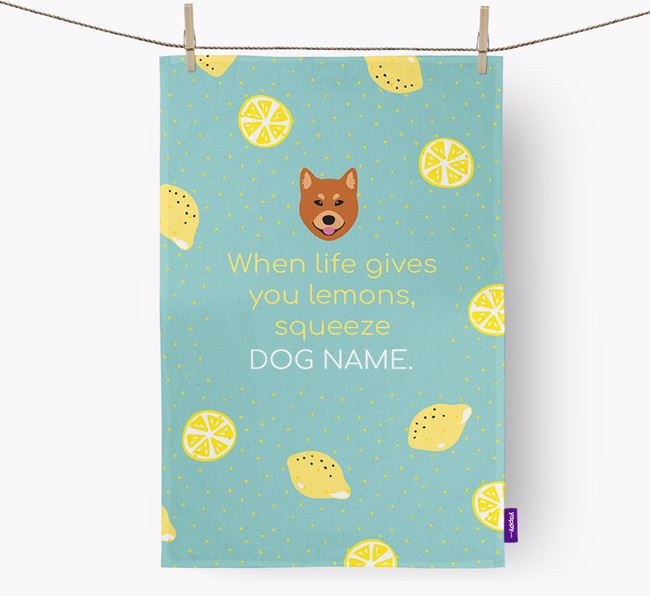 Personalised 'When Life Gives You Lemons' Dish Towel with Finnish Spitz Icon