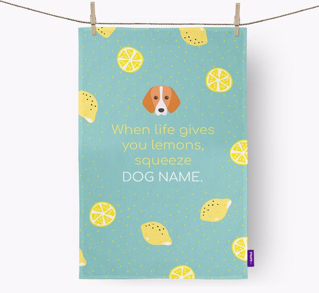 Personalised 'When Life Gives You Lemons' Tea Towel with Foxhound Icon