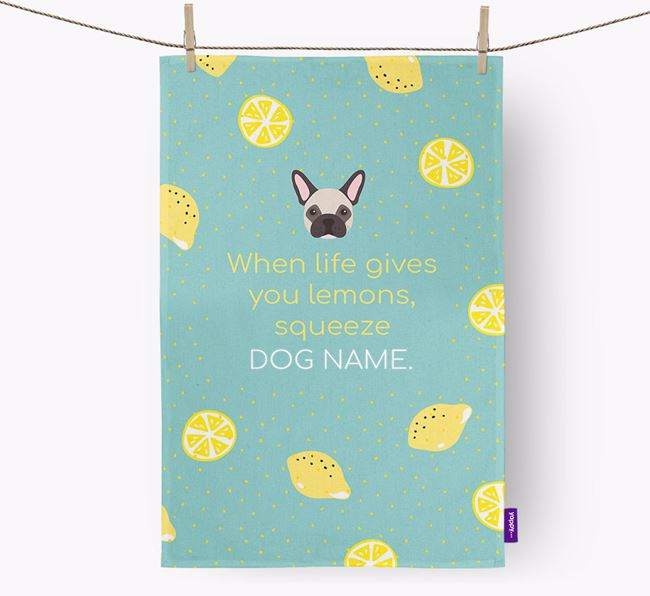Personalised 'When Life Gives You Lemons' Tea Towel with French Bulldog Icon