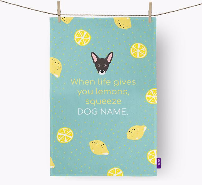 Personalised 'When Life Gives You Lemons' Dish Towel with French Pin Icon