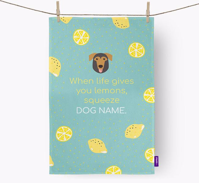 Personalised 'When Life Gives You Lemons' Dish Towel with German Sheprador Icon