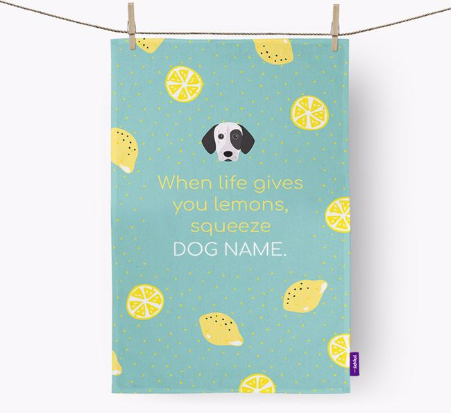 Personalised 'When Life Gives You Lemons' Dish Towel with German Shorthaired Pointer Icon
