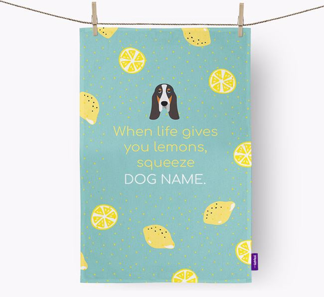 Personalised 'When Life Gives You Lemons' Dish Towel with Grand Bleu De Gascogne Icon