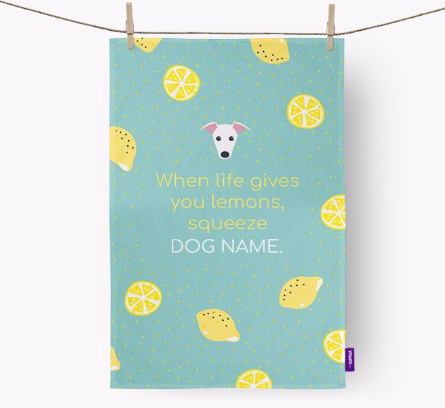 Personalised 'When Life Gives You Lemons' Tea Towel with Greyhound Icon