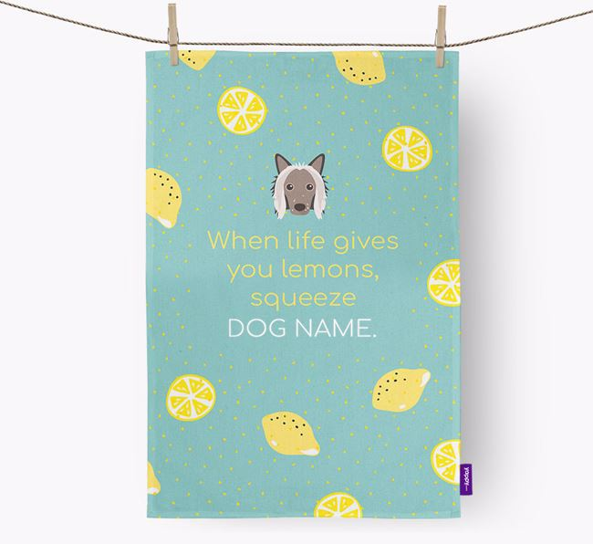 Personalised 'When Life Gives You Lemons' Tea Towel with Hairless Chinese Crested Icon