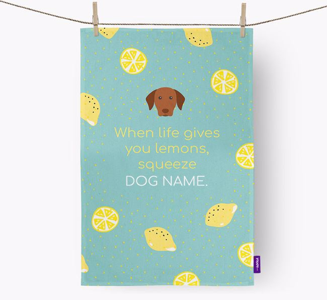 Personalised 'When Life Gives You Lemons' Dish Towel with Hungarian Vizsla Icon