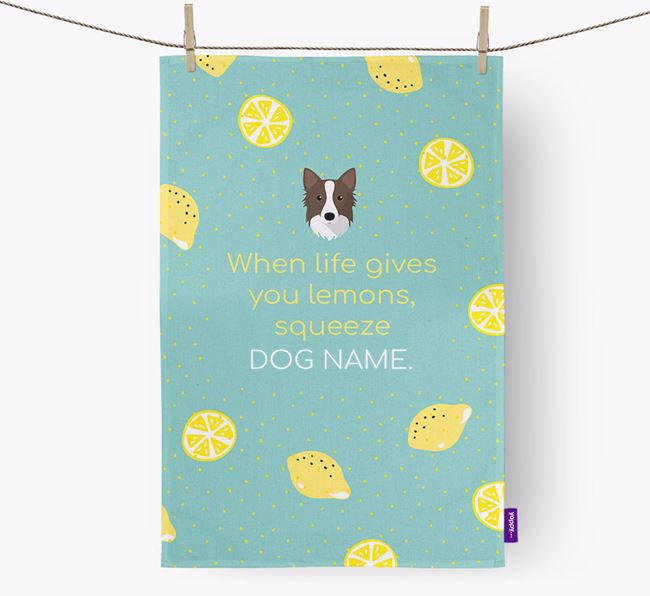 Personalised 'When Life Gives You Lemons' Dish Towel with Icelandic Sheepdog Icon