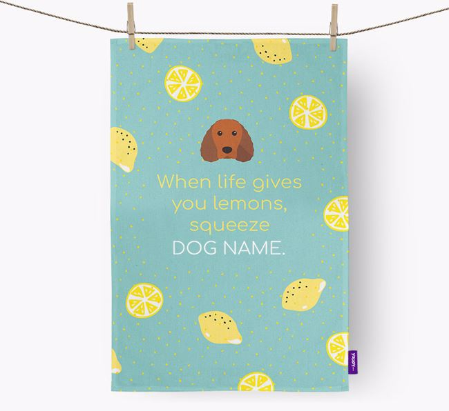 Personalised 'When Life Gives You Lemons' Dish Towel with Irish Water Spaniel Icon
