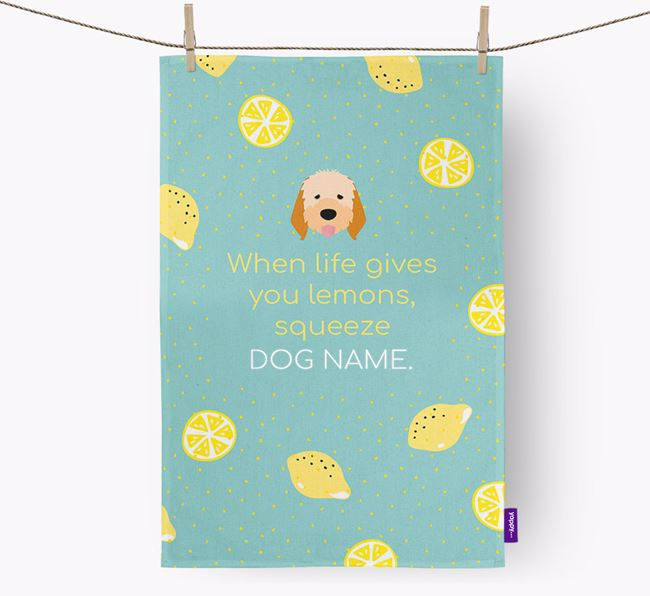 Personalised 'When Life Gives You Lemons' Dish Towel with Italian Spinone Icon