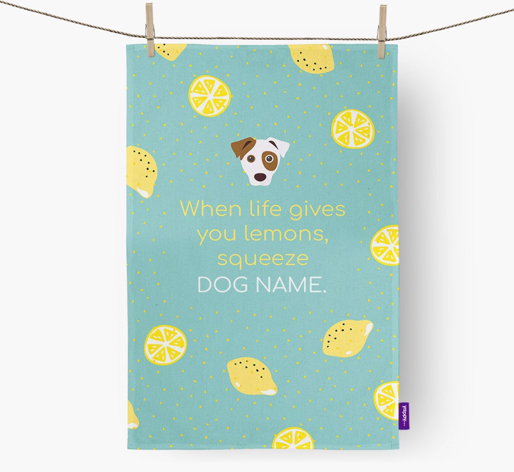 Personalised 'When Life Gives You Lemons' Tea Towel with Dog Icon