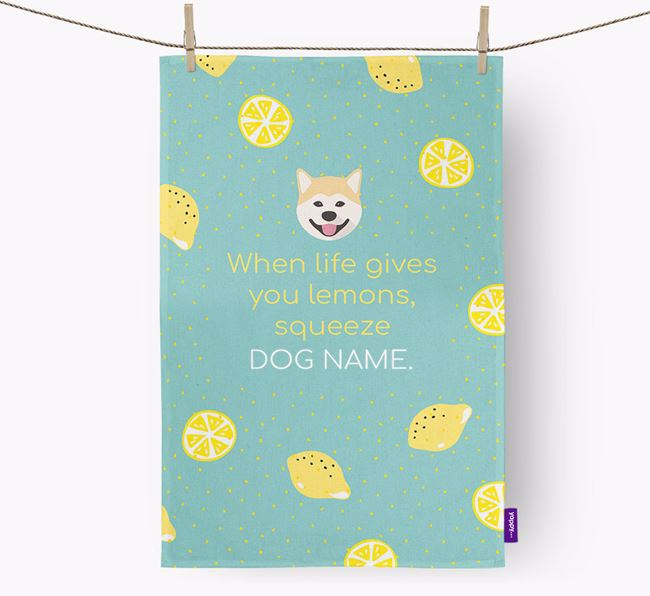 Personalised 'When Life Gives You Lemons' Tea Towel with Japanese Akita Icon