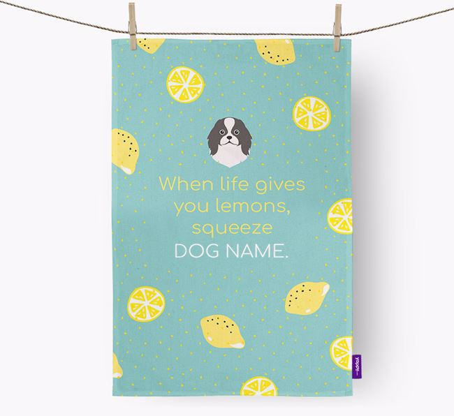 Personalised 'When Life Gives You Lemons' Dish Towel with Japanese Chin Icon