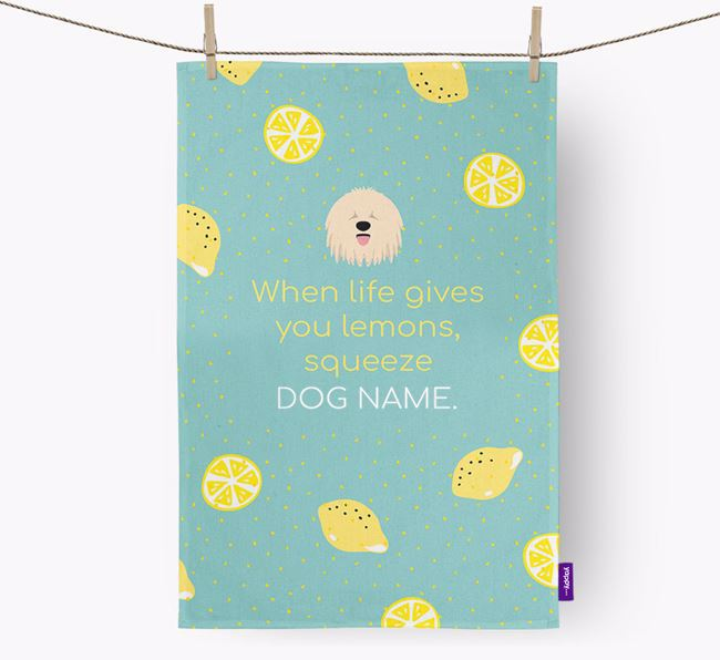 Personalised 'When Life Gives You Lemons' Dish Towel with Komondor Icon