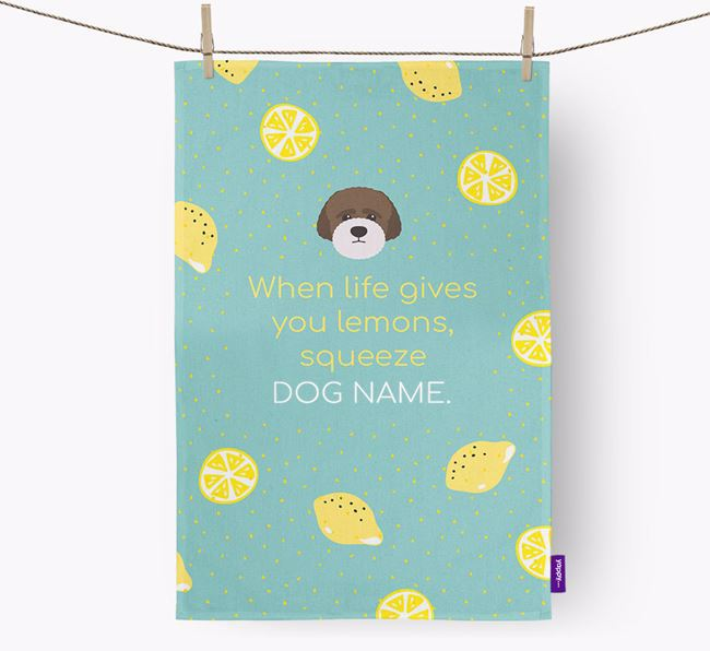 Personalised 'When Life Gives You Lemons' Dish Towel with Lagotto Romagnolo Icon